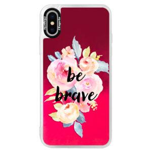 Neonové pouzdro Pink iSaprio - Be Brave - iPhone X
