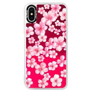 Neonové pouzdro Pink iSaprio - Flower Pattern 05 - iPhone XS