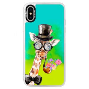Neonové pouzdro Blue iSaprio - Sir Giraffe - iPhone X