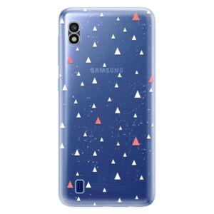 Odolné silikonové pouzdro iSaprio - Abstract Triangles 02 - white - Samsung Galaxy A10