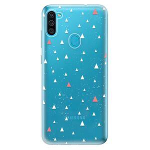 Odolné silikonové pouzdro iSaprio - Abstract Triangles 02 - white - Samsung Galaxy M11