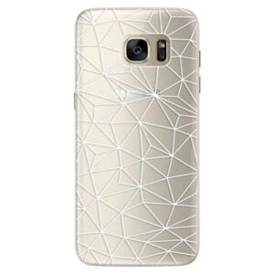 Silikonové pouzdro iSaprio - Abstract Triangles 03 - white - Samsung Galaxy S7 Edge