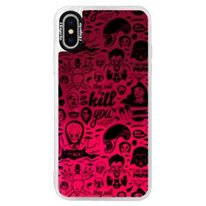 Neonové pouzdro Pink iSaprio - Comics 01 - black - iPhone XS