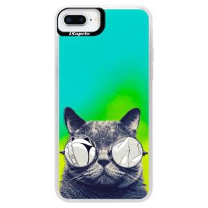Neonové pouzdro Blue iSaprio - Crazy Cat 01 - iPhone 8 Plus