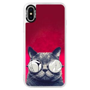 Neonové pouzdro Pink iSaprio - Crazy Cat 01 - iPhone X