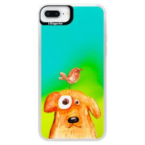 Neonové pouzdro Blue iSaprio - Dog And Bird - iPhone 8 Plus
