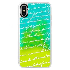 Neonové pouzdro Blue iSaprio - Handwriting 01 - white - iPhone X