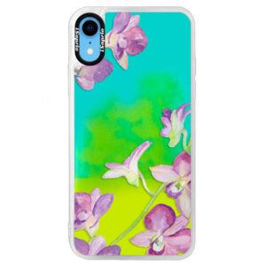 Neonové pouzdro Blue iSaprio - Purple Orchid - iPhone XR