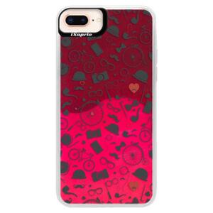 Neonové pouzdro Pink iSaprio - Vintage Pattern 01 - black - iPhone 8 Plus