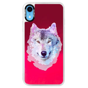 Neonové pouzdro Pink iSaprio - Wolf 01 - iPhone XR