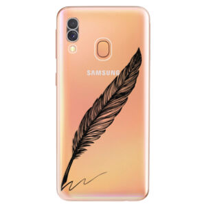 Odolné silikonové pouzdro iSaprio - Writing By Feather - black - Samsung Galaxy A40