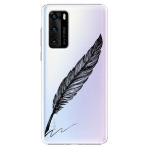 Plastové pouzdro iSaprio - Writing By Feather - black - Huawei P40