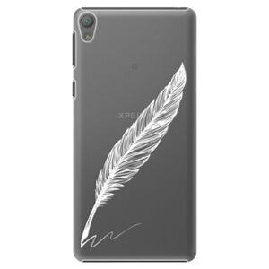 Plastové pouzdro iSaprio - Writing By Feather - white - Sony Xperia E5