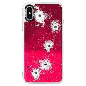 Neonové pouzdro Pink iSaprio - Gunshots - iPhone XS