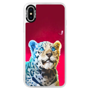Neonové pouzdro Pink iSaprio - Leopard With Butterfly - iPhone XS