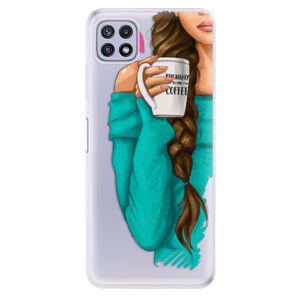 Odolné silikonové pouzdro iSaprio - My Coffe and Brunette Girl - Samsung Galaxy A22 5G