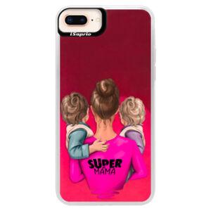 Neonové pouzdro Pink iSaprio - Super Mama - Two Boys - iPhone 8 Plus