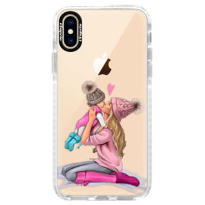 Silikonové pouzdro Bumper iSaprio - Kissing Mom - Blond and Girl - iPhone XS