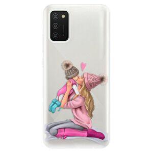 Odolné silikonové pouzdro iSaprio - Kissing Mom - Blond and Girl - Samsung Galaxy A02s