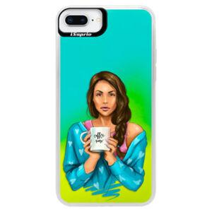 Neonové pouzdro Blue iSaprio - Coffe Now - Brunette - iPhone 8 Plus