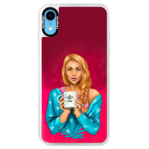 Neonové pouzdro Pink iSaprio - Coffe Now - Redhead - iPhone XR
