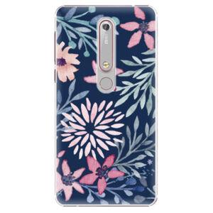 Plastové pouzdro iSaprio - Leaves on Blue - Nokia 6.1