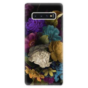 Odolné silikonové pouzdro iSaprio - Dark Flowers - Samsung Galaxy S10+