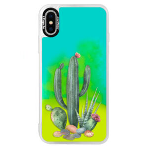 Neonové pouzdro Blue iSaprio - Cacti 02 - iPhone X
