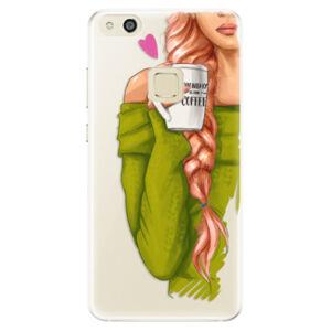 Silikonové pouzdro iSaprio - My Coffe and Redhead Girl - Huawei P10 Lite
