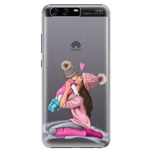 Plastové pouzdro iSaprio - Kissing Mom - Brunette and Girl - Huawei P10 Plus