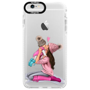 Silikonové pouzdro Bumper iSaprio - Kissing Mom - Brunette and Girl - iPhone 6/6S