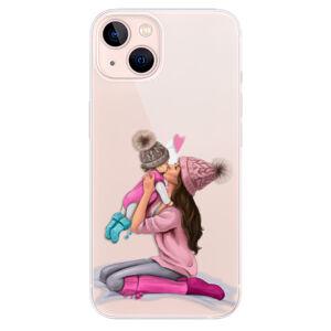 Odolné silikonové pouzdro iSaprio - Kissing Mom - Brunette and Girl - iPhone 13