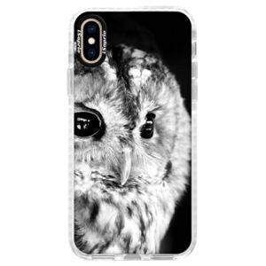 Silikonové pouzdro Bumper iSaprio - BW Owl - iPhone XS